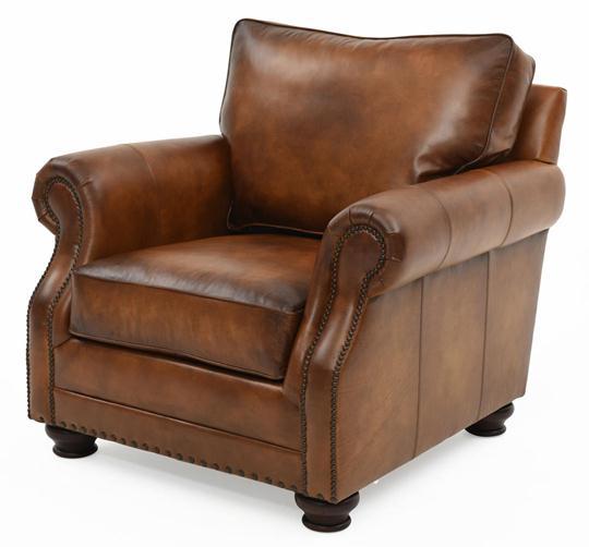 Exceptional Bernhardt Princeton Top Grain Leather Club Chair, Brindisi
